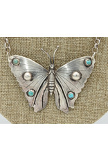 "Gildas Gewels 17"" Vintage Lg. Butterfly, Diamond Clasp Necklace"
