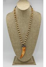 """Gildas Gewels 29"""" 4-Row Diamond Horn on Vntg. Chain"""