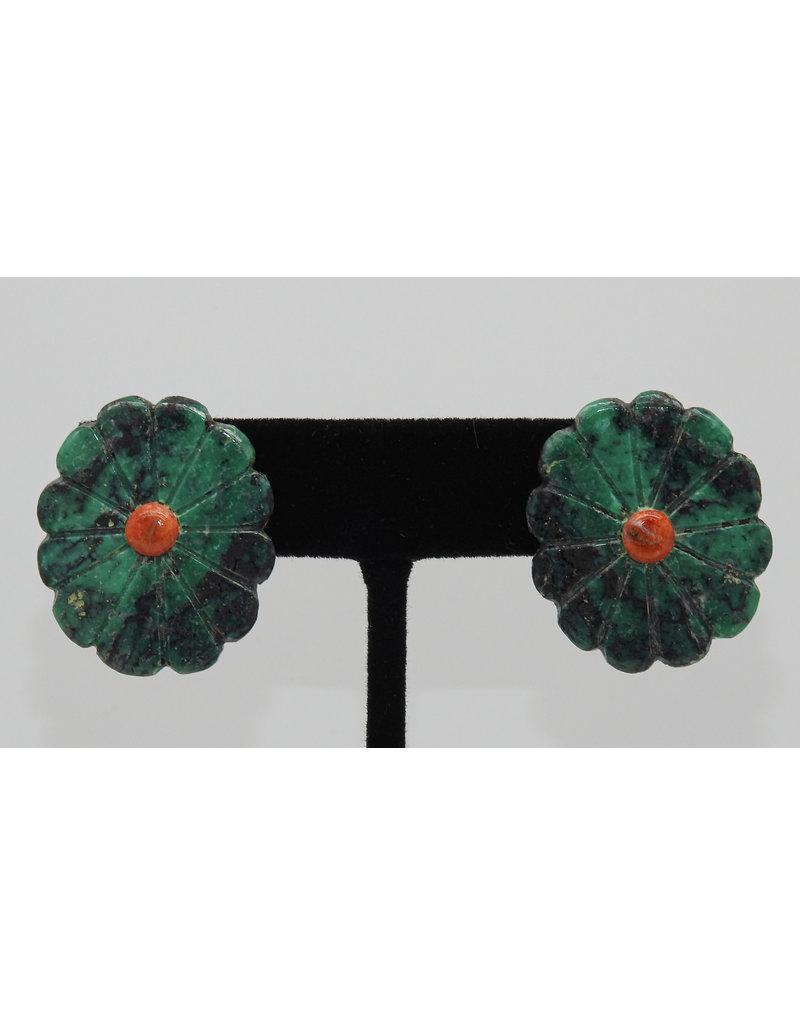 Jolene Bird JB-E Lg Turquoise Flower Earrings