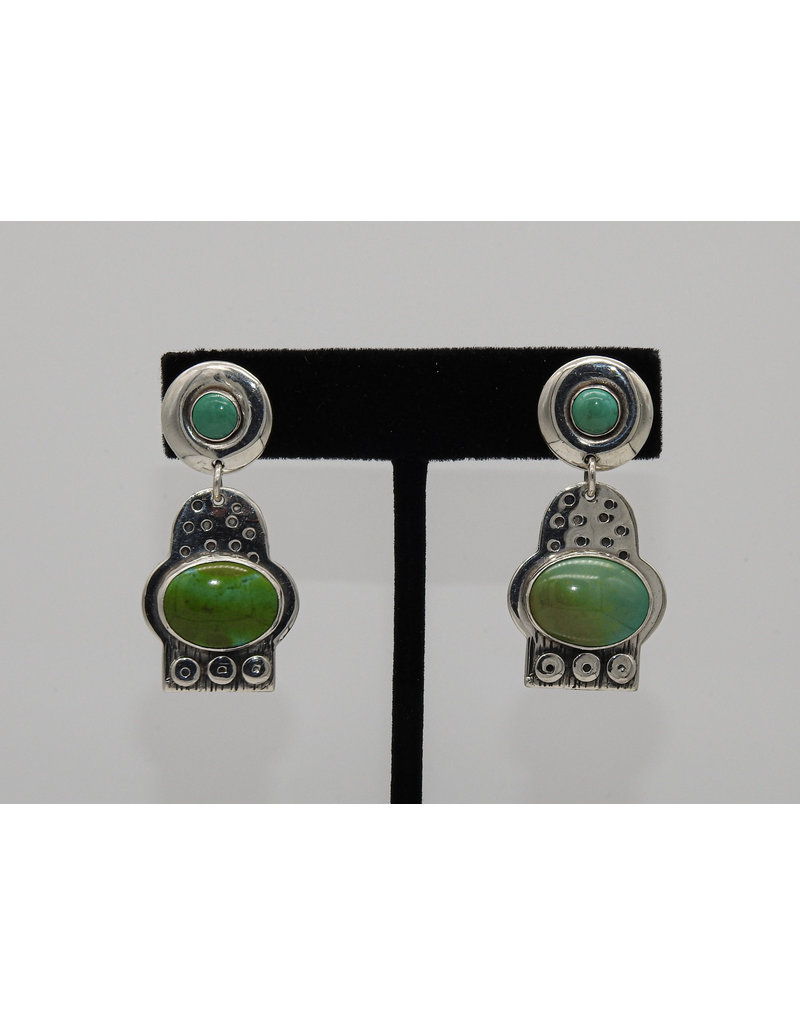 Judy Perlman Sterling Silver & Turquoise Rnd Post w/ Oval Dngl