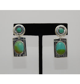 Judy Perlman Sterling Silver & Turquoise Rnd Post w/ Rectgl Dngl