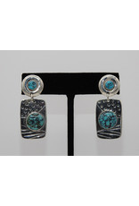 Judy Perlman Sterling Silver & Turquoise Rnd. Post w/ Rectg Dngl