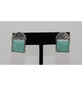 Judy Perlman Sterling Silver with Square Turquoise Post