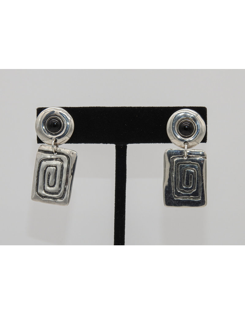 Judy Perlman Sterling Silver with Onyx Post