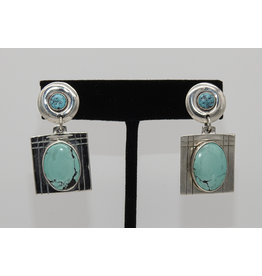 Judy Perlman Sterling Silver & Turquoise Rnd. Post w/ Sqr Dangle