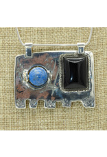 Judy Perlman Sterling Silver, Onyx & Lapis Elephant w/chain