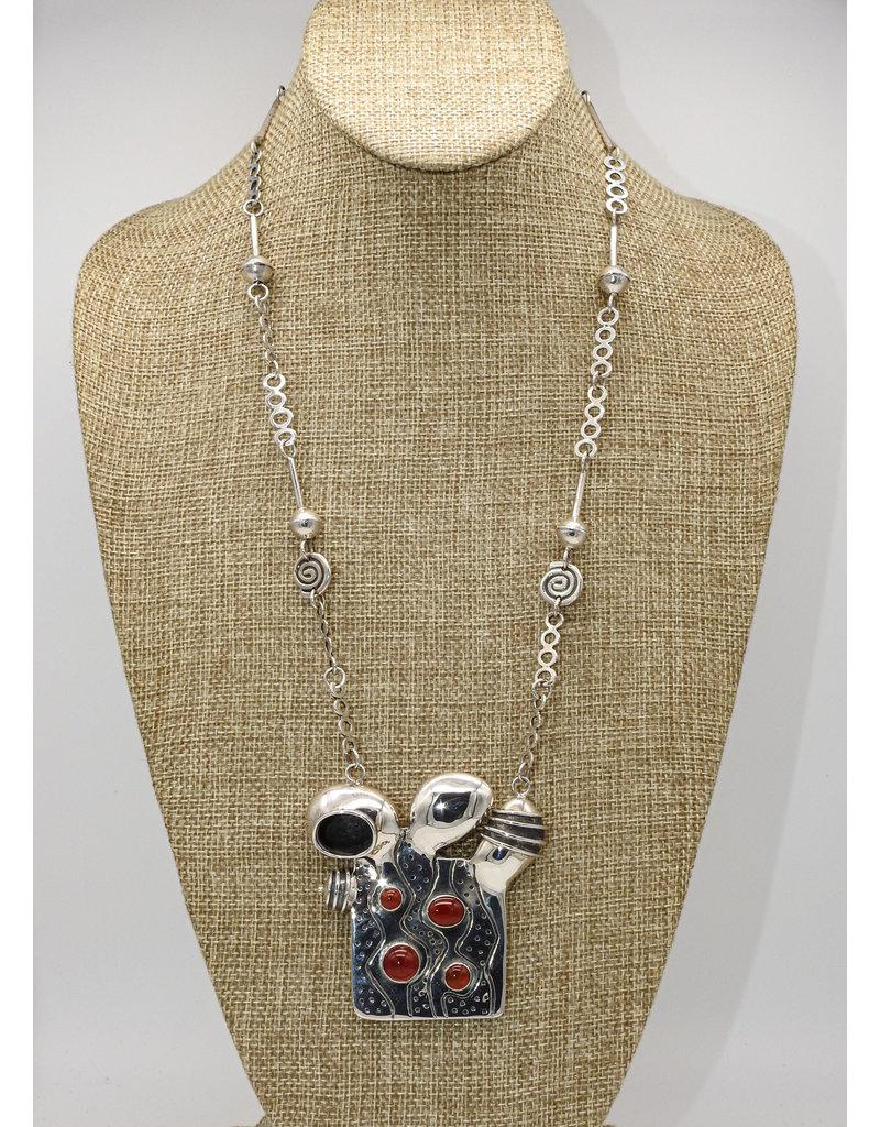Judy Perlman Sterling Silver w/ Carnelian, SS Handmade chain