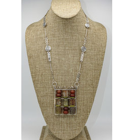 Judy Perlman Abacus Pendant with Carnelion, HM Chain