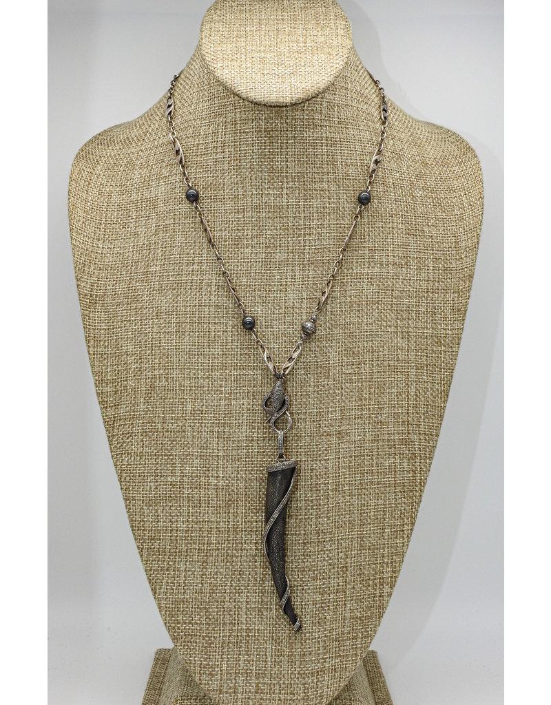 """Gildas Gewels 24""""Diamond Spiral Horn Necklace"""