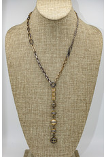 "Gildas Gewels 30"" Patchwork 3 gold diamond ball necklace"