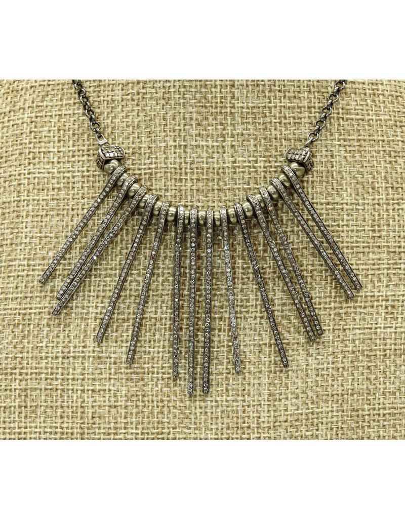 Gildas Gewels 14 Diamond Spikes w/Diamond Clasp Necklace