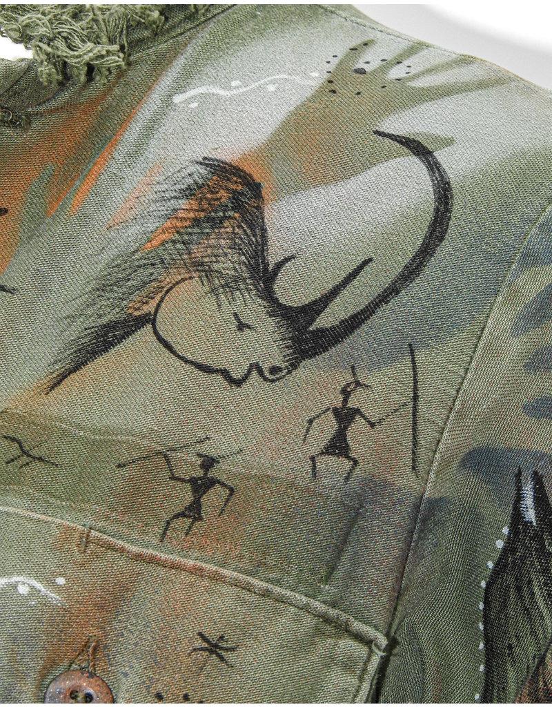KAT53 Vintage Army Shirt w/Cave Art S