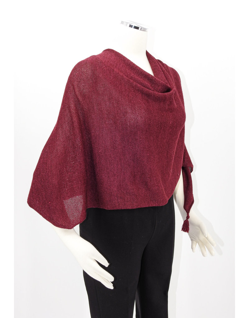 KNIT Wool/Silk Ponchette - Ruby