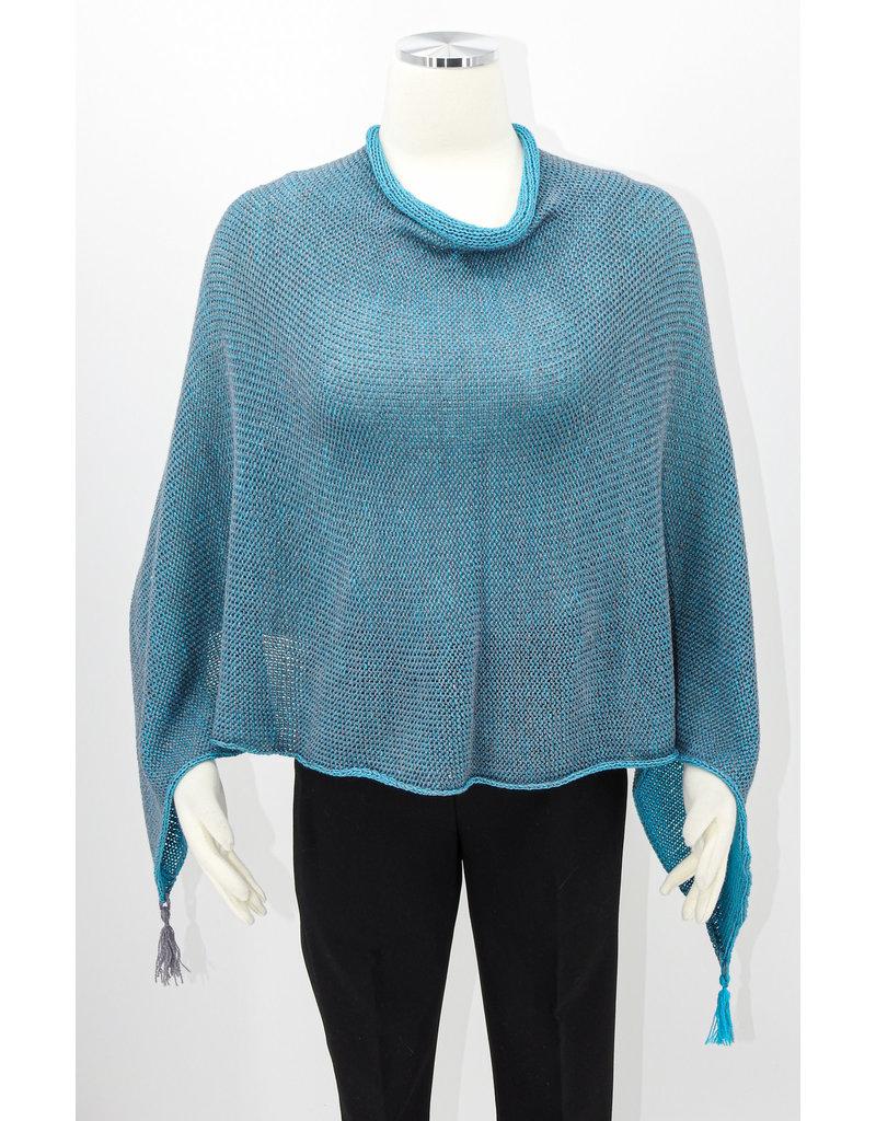 KNIT Wool/Silk Poncho-Turq/Charcoal