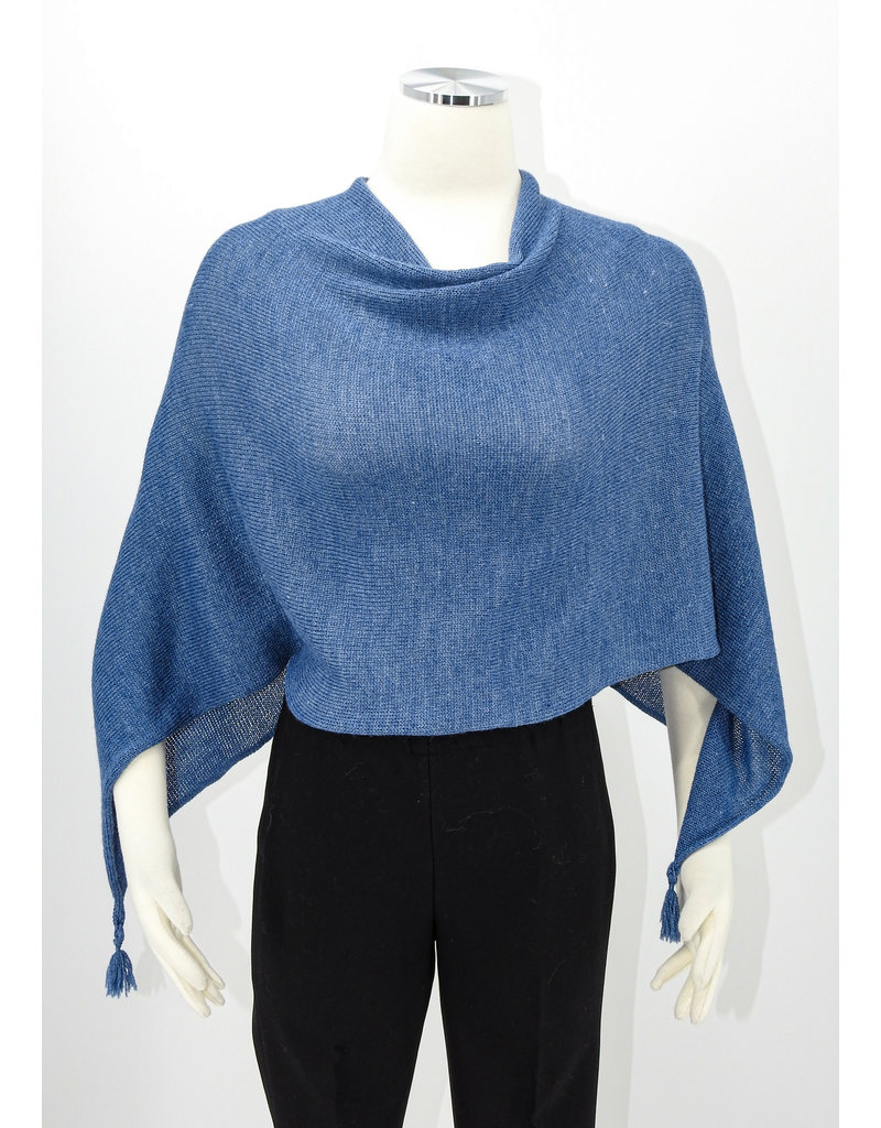KNIT Wool/Silk Ponchette - Bluberry