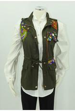 KAT53 African Wax Print Applique Vest Small