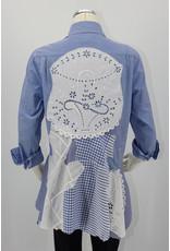 Char Designs, Inc. Blue Pinstripe, White Lace