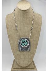 Judy Perlman SS Shield w/Turq. Pndt, HM Chain
