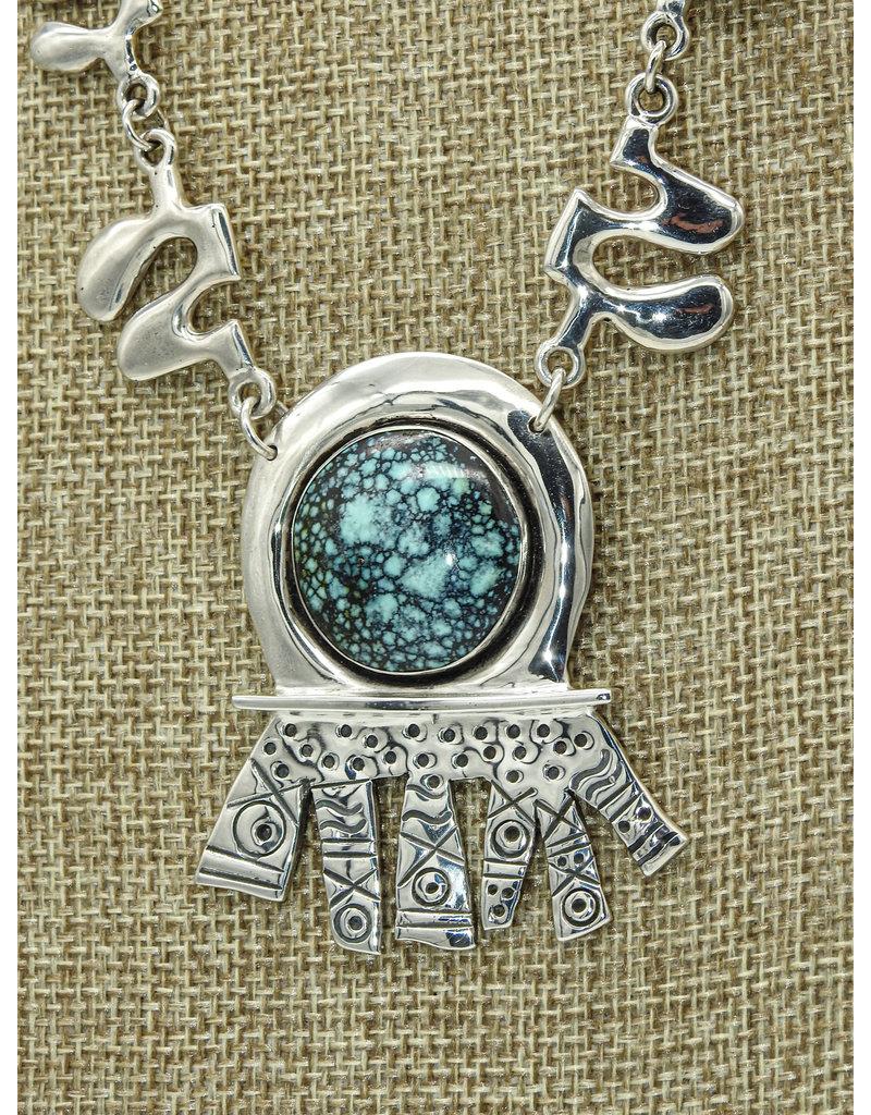 Judy Perlman SS w/Turq. Pndt, Hand Made Chain