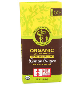 EQUAL EXCHANGE SMALL FARMER CHOCOLATE BAR, LEMON GINGER DARK CHOCOLATE, 2.8 OZ.