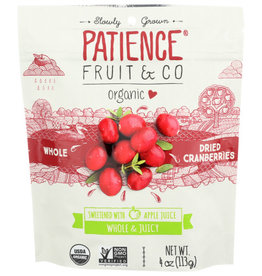 PATIENCE FRUIT & CO PATIENCE FRUIT & CO. ORGANIC CRANBERRIES, SWEETENED WITH APPLE JUICE, 4 OZ. BAG