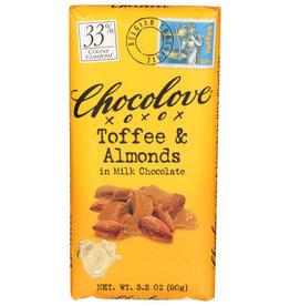 CHOCOLOVE® CHOCOLOVE CHOCOLATE , TOFFEE & ALMONDS IN MILK CHOCOLATE, 3.2 OZ.