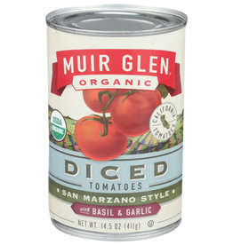 MUIR GLEN™ MUIR GLEN TOMATOES, BASIL AND GARLIC, DICED, 14.5 OZ.