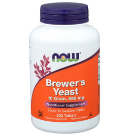 NOW FOODS NOW BREWER'S YEAST 10 GRAIN, 650 MG. NUTRITIONAL SUPPLEMENT, 200 COUNT