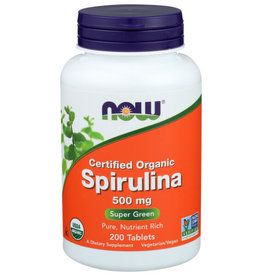 NOW® NOW FOODS CERTIFIED ORGANIC 500 MG. SPIRULINA DIETARY SUPPLEMENT, 200 TABLETS
