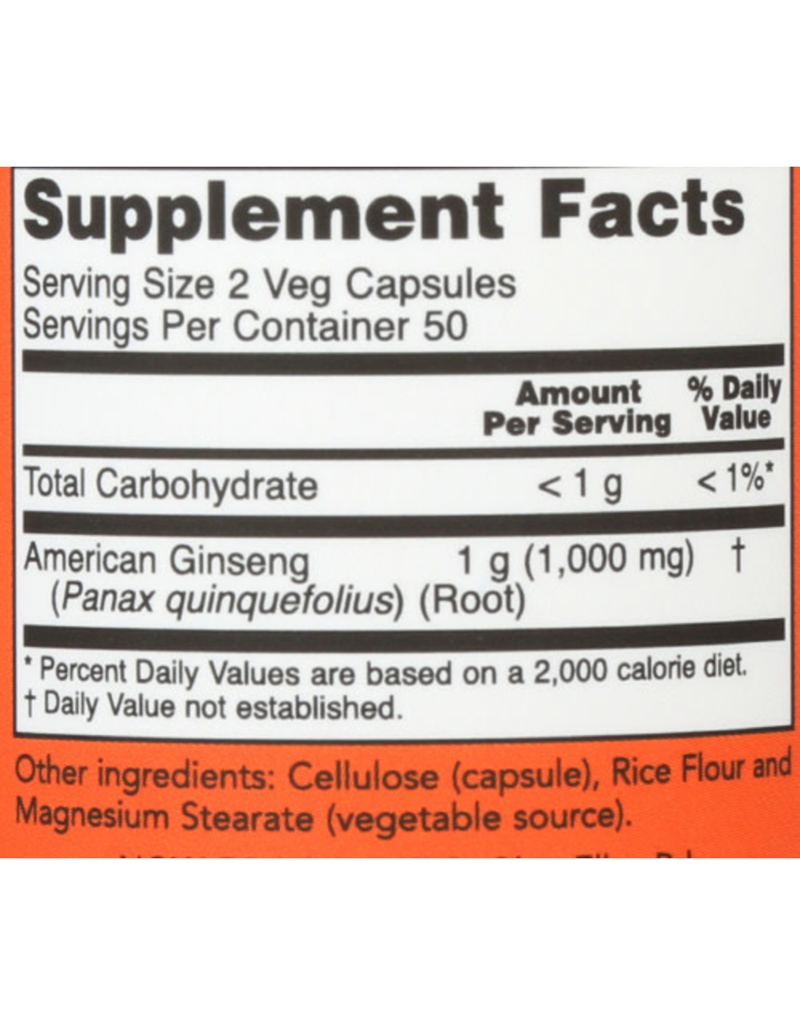NOW FOODS NOW AMERICAN GINSENG 500 MG. HERBAL SUPPLEMENT, 100 COUNT