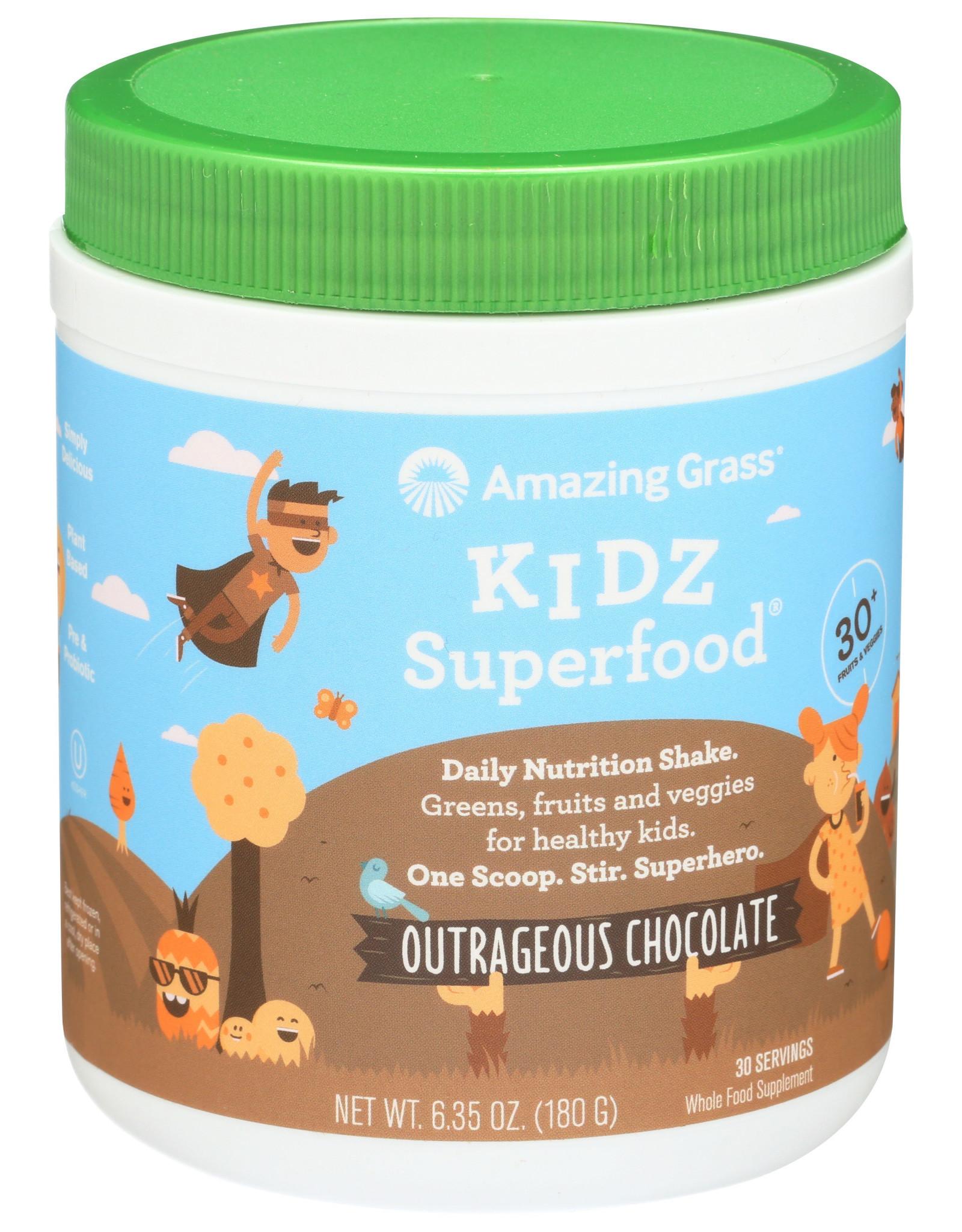 AMAZING GRASS KIDZ SUPERFOOD, OUTRAGEOUS CHOCOLATE, 6.35 OZ.