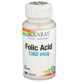Solaray Folic Acid 1360mcg 100 Veg Capsules