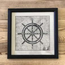 Framed Nautical Picture-Boat Wheel