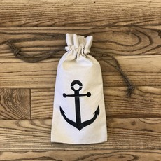 Canvas Wine Tote - Navy Anchor