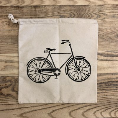 Canvas Drawstring Tote with Bike