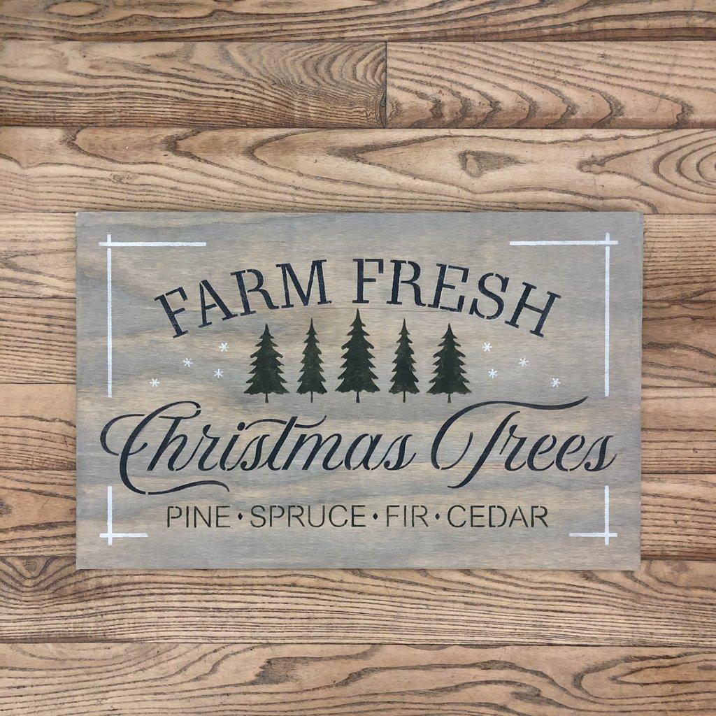 Farm Fresh Christmas Trees Sign - Grey