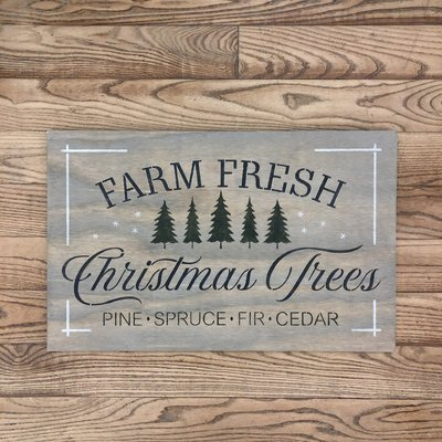 Farm Fresh Christmas Trees Sign - Grey