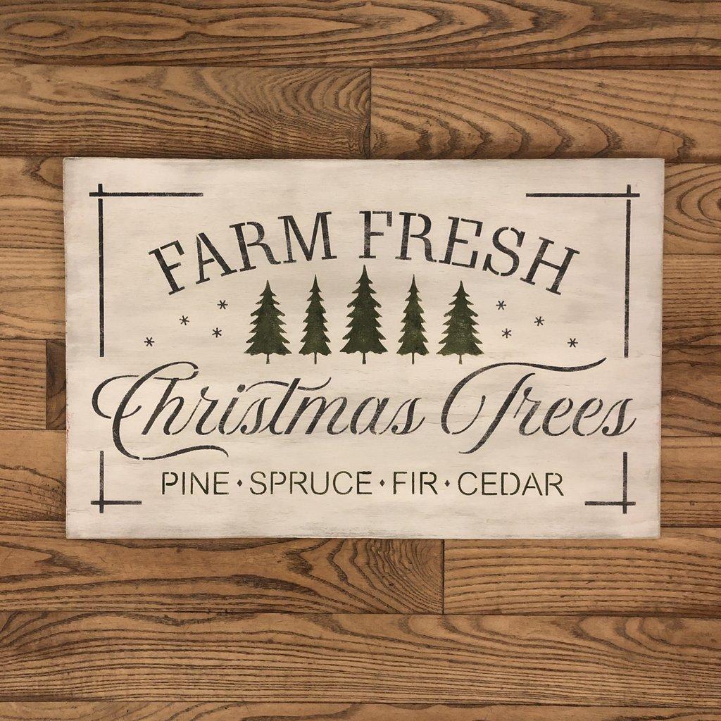 Farm Fresh Christmas Trees Sign - White