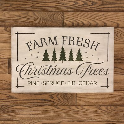 Farm Fresh Christmas Trees Sign - White