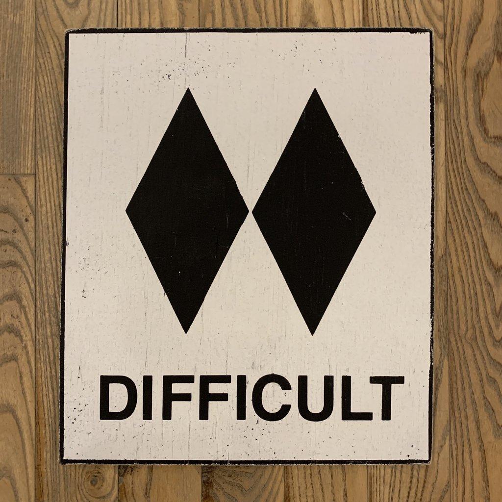 "Ski Sign - Difficult 18"" x 24"""