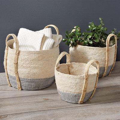 Whitewash Grey Basket