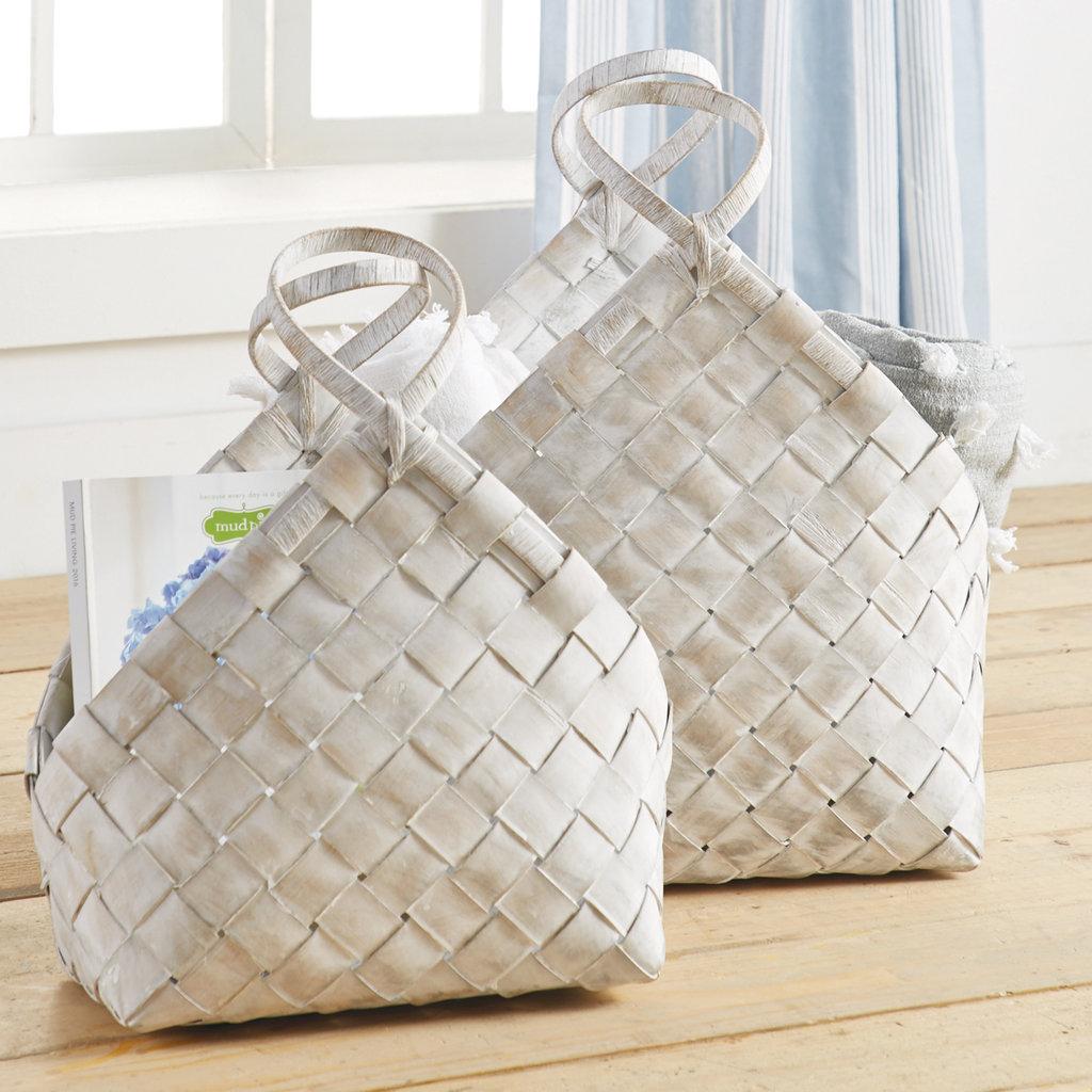 Whitewash Woven  Basket