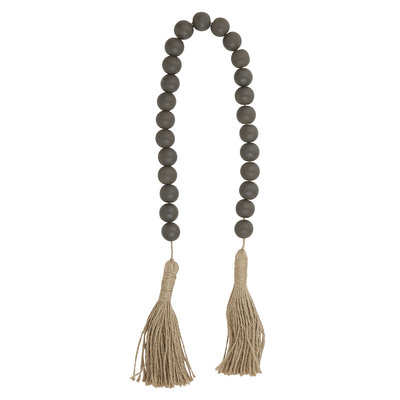 Dark Grey Wood Beads with Tassel