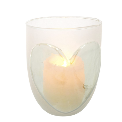 Frosted Heart Candle Holders