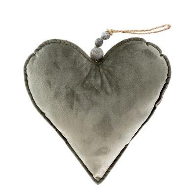 Large Grey Velvet Heart Ornament