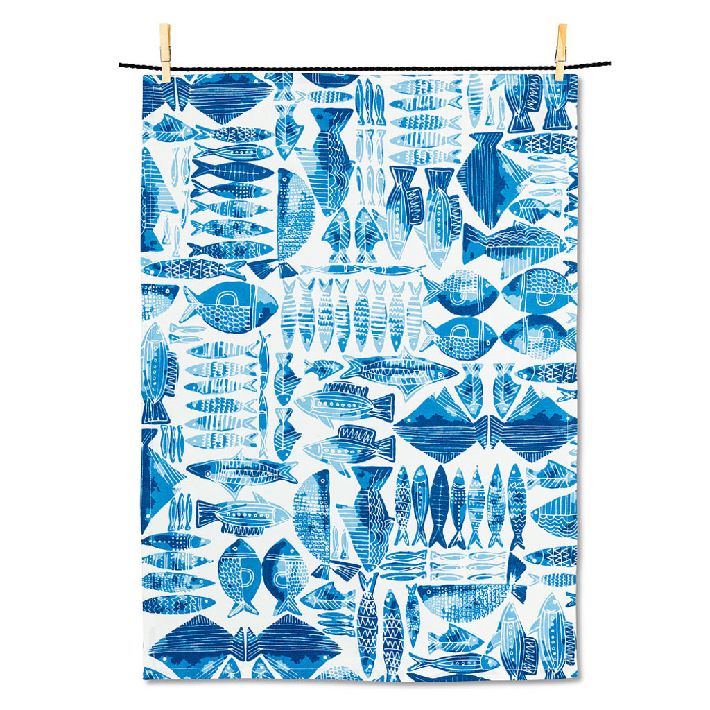 Blue Fish Tea Towel