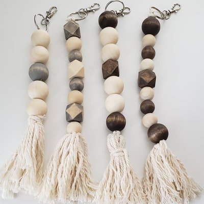Wood Bead Keychains
