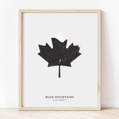 Blue Mountains Maple Leaf Print