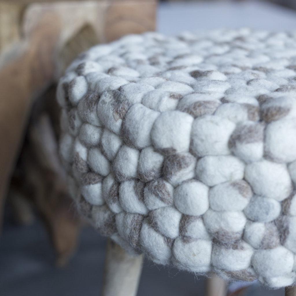 Cream Felted Wool Stool