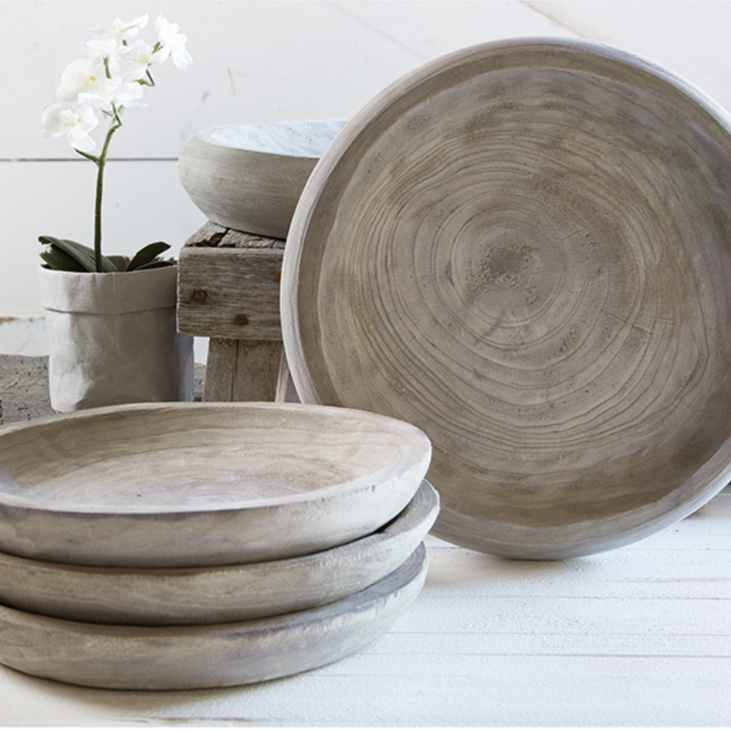 Medium Grey Paulownia Bowl